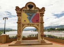 在自然泰国缅甸和的老挝之间的金黄三角边界 库存照片