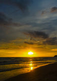 在自然海秀丽的日落  图库摄影