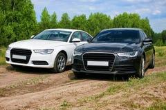 在自然的两辆汽车 免版税库存图片