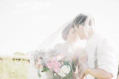 在自然的婚礼夫妇 拥抱在面纱下的新娘和新郎在婚礼 免版税库存图片