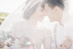 在自然的婚礼夫妇 拥抱在面纱下的新娘和新郎在婚礼 库存照片
