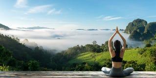 在自然的少妇实践的瑜伽 库存图片