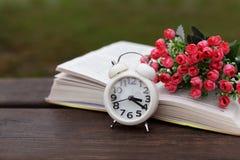 在自然的白色老时钟闹钟早晨在一个长木凳 免版税库存照片