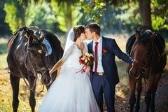 在自然的美好的夏天婚礼步行 免版税库存照片
