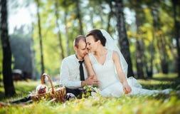 在自然的美好的夏天婚礼步行 免版税库存图片