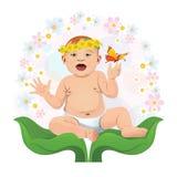 在自然的绿色手上的婴孩 免版税库存照片