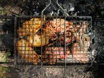 在自然的BBQ猪肉 免版税库存图片