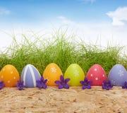 在自然背景的五颜六色的复活节彩蛋与草 库存照片