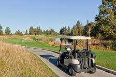 在自然路线的高尔夫车 库存图片