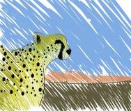 在自然风景的风格化豹子 库存照片