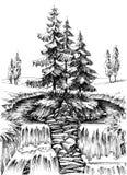 在自然风景的高山瀑布 皇族释放例证