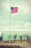 在自由公园9/11纪念品的美国旗子-葡萄酒 免版税库存照片