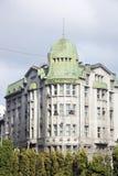 在自由大街的Prominvestbank大厦在利沃夫州,乌克兰 免版税库存照片
