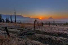 在自由州的有薄雾的日出 免版税库存照片