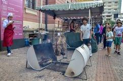 在自由广场的美食术星期在贝洛奥里藏特,巴西 库存照片