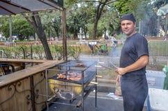在自由广场的美食术星期在贝洛奥里藏特,巴西 免版税图库摄影