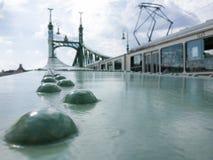 在自由桥梁的一条电车轨道在布达佩斯,匈牙利 免版税库存图片