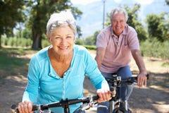 在自行车乘驾的高级夫妇 免版税图库摄影