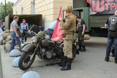 在自行车展示的德国军用摩托车 免版税库存照片