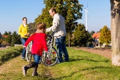 在自行车游览中的家庭在公园 免版税库存照片