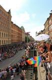在自行车的堤在游行斯德哥尔摩自豪感7月31日-威严5日2012年 免版税库存照片