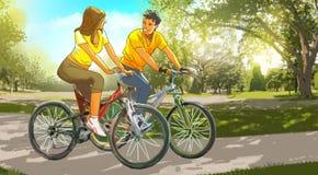 在自行车的夫妇在公园 库存照片