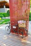 在自行车的篮子花 库存照片