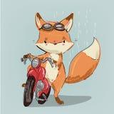 在自行车的逗人喜爱的狐狸 向量例证