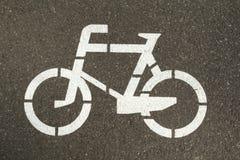 在自行车车道的标志 免版税库存图片