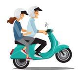 在自行车,漫画人物家庭的夫妇 向量例证