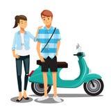 在自行车,漫画人物家庭的夫妇 免版税库存图片