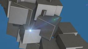 在自转的抽象立方体 影视素材