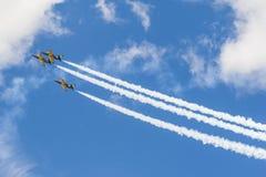 在航空体育比赛期间,特技飞行航空L-159美国皮革化学家协会鲁斯在空气的 免版税库存照片