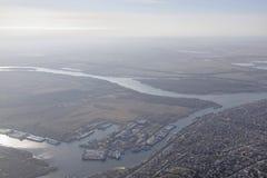 在航空器上的看法顿河畔罗斯托夫 免版税库存照片