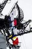 在航空母舰的旗子 库存照片