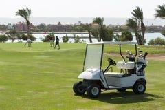 在航路的电高尔夫球儿童车 免版税库存照片