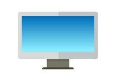 在舱内甲板的蓝色计算机显示器 库存照片