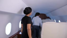 在船上得到私人喷气式飞机 影视素材