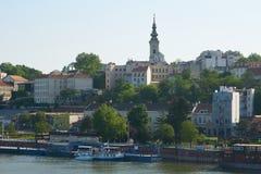 在船坞和老市的看法贝尔格莱德 库存照片