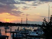 在船坞的日落 免版税图库摄影