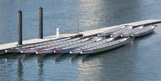 在船坞的龙小船 免版税图库摄影