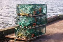 在船坞的龙虾陷井 库存图片