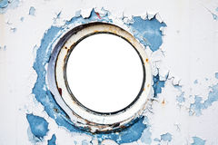 在船墙壁的空的圆的舷窗 库存图片