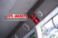 在船的救生衣标志,安全搭乘概念 图库摄影