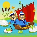 在船的海狸 免版税库存图片