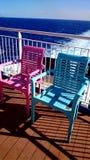 在船的sundeck的扶手椅子 库存图片