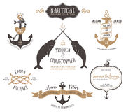 在船舶样式的手拉的婚礼邀请商标模板 库存图片