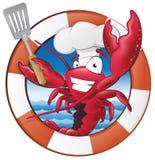 在船舶主题的框架的逗人喜爱的龙虾厨师字符 免版税库存图片