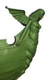 在船讲台的美人鱼雕塑 免版税库存照片