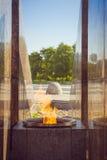 在船锚正方形的永恒火焰在Kronstadt 免版税图库摄影